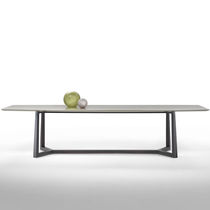 Contemporary dining table / glass / metal / marble