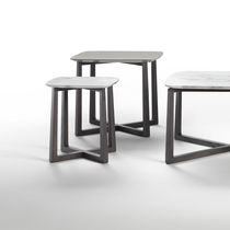 Contemporary side table / marble / solid wood / rectangular