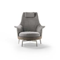 Contemporary armchair / fabric / leather / with headrest