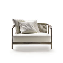 Contemporary sofa / leather / solid wood / fabric