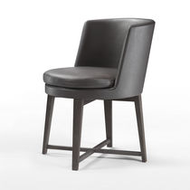 Contemporary dining chair / upholstered / metal / fabric