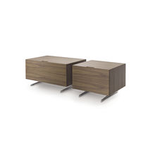 Contemporary bedside table / wooden / aluminum / rectangular