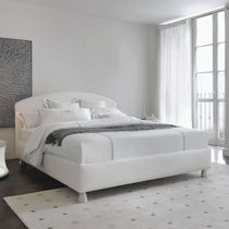 Double bed / contemporary / fabric / leather