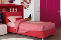 Single bed / contemporary / with storage / leather
