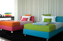 Single bed / contemporary / upholstered / with headboard