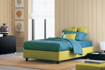 Single bed / contemporary / fabric / leather