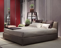 Double bed / contemporary / with storage / fabric