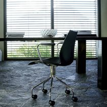 Contemporary chair / upholstered / with armrests / swivel