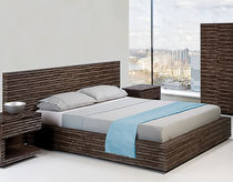 Double bed / contemporary / with headboard / bamboo