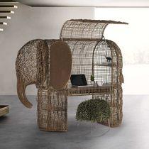 Rattan desk / steel / original design / with storage