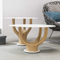 Contemporary coffee table / rattan / steel / oval