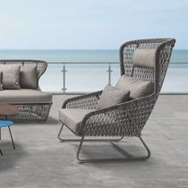 Contemporary armchair / aluminum / polyethylene / nylon