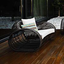 Original design armchair / rattan / polyethylene / aluminium