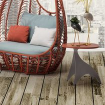Contemporary side table / wooden / steel