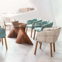Contemporary chair / fabric / maple / steel