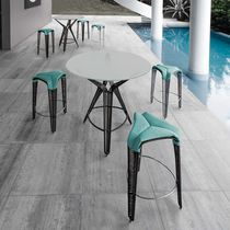 Contemporary bar stool / steel / polyethylene / nylon