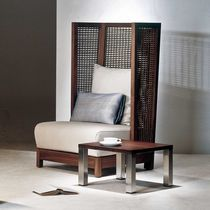 Contemporary armchair / rattan / walnut / maple