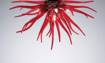 Contemporary ceiling light / blown glass / Murano glass / metal