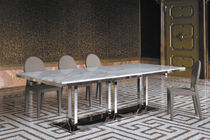Contemporary table / tempered glass / chrome steel / marble