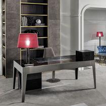 Walnut desk / ebony / metal / leather