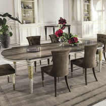 Contemporary dining table / metal / leather / marble