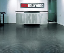 PVC floor covering / for professional use / textured / metal look
