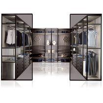 Corner walk-in wardrobe / contemporary / wooden / custom