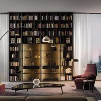 Wall-mounted bookcase / high / contemporary / lacquered wood
