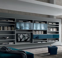 Contemporary TV wall unit / lacquered wood / glass / by Mauro Lipparini