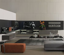 Contemporary TV wall unit / melamine / wooden / glass