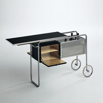 Wooden service trolley / steel / plastic / residential