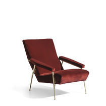 Contemporary armchair / fabric / leather / brass