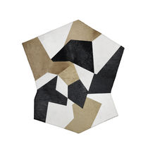 Contemporary rug / geometric pattern / leather / square