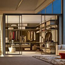Indoor door / for walk-in closet / sliding / glass