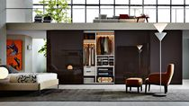 Wall-mounted walk-in wardrobe / contemporary / wooden / glass