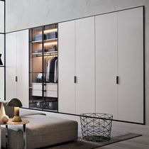 Wall-mounted walk-in wardrobe / contemporary / glass / with sliding door