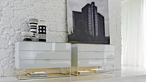 Contemporary chest of drawers / wood veneer / glass / melamine