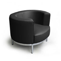 Contemporary armchair / fabric / leather / chrome steel