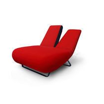 Contemporary chaise longue / fabric / metal / adjustable backrest