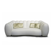 Contemporary sofa / fabric / leather / white