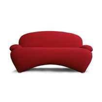Contemporary sofa / fabric / aluminum / red