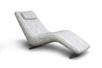 Contemporary sun lounger / fabric / leather / outdoor