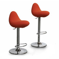 Contemporary bar chair / upholstered / swivel / central base