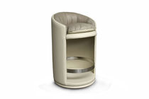 Contemporary bar stool / leather / beige