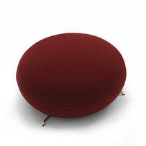 Contemporary pouf / fabric / leather / steel