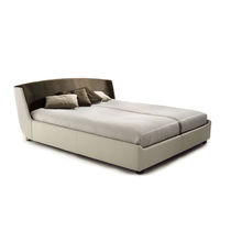 Double bed / contemporary / wooden / fabric