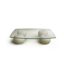 Contemporary coffee table / glass / leather / fabric