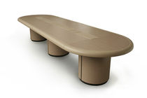 Contemporary boardroom table / solid wood / plywood / round
