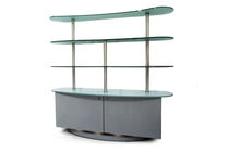 Contemporary shelf / stainless steel / glass