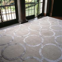 Contemporary rug / geometric / wool / silk